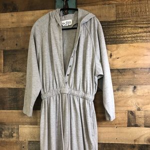 Vintage Light Grey Hooded Jumpsuit